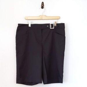 Izod Cool FX Black Flat Front Golf Bermuda Shorts
